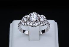 Białego złota diamentowy pierścionek z stojakiem Fotografia Stock