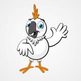 Białej śmiesznej kreskówki komicznie papuga na tle Zdjęcia Stock