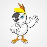 Białej śmiesznej kreskówki komicznie papuga odizolowywająca na tle Obrazy Stock