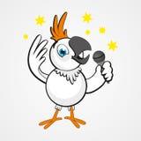 Białej śmiesznej kreskówki komicznie papuga z mikrofonem odizolowywającym na tle Obraz Stock