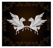 Białej jednorożec kreskówki czerni koński tło Zdjęcia Stock