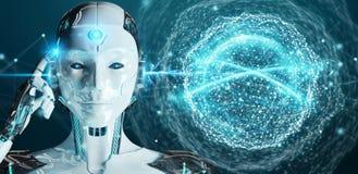 Białej kobiety humanoid używać cyfrowego globalnej sieci 3D rendering Fotografia Stock