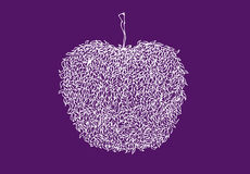 Białej linii jabłko w zentangle stylu Odizolowywający na Fiołkowym tle wzór liści Kreskowa sztuka Zdjęcie Stock