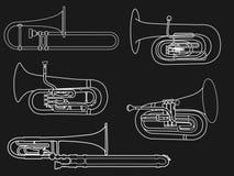 Białej linii konturu rysunek wiatrowa instrument muzyczny rodziny ilustracja ilustracji