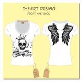 Białej projekt dziewczyny koszulki z skrzydłami, skała, czaszka, z royalty ilustracja