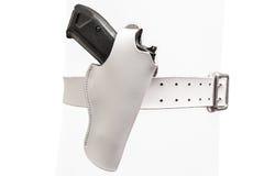 Białej skóry dwa prong pasek z pistoletem w pleśniejącym holster, clo obrazy stock