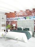Białej sypialni minimalny stylowy Wewnętrzny projekt z drewno ścianą i popielatą kanapą świadczenia 3 d ilustracja 3 d Obraz Royalty Free
