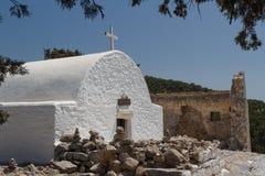 Białkujący kościół w ruinach średniowieczny Monolithos kasztel Zdjęcia Stock