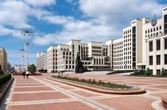 Białoruś Budynek Rządowy dom w Minsk Zabytek Lenin blisko budynku Rządowy dom Ma Fotografia Royalty Free