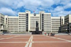 Białoruś Budynek Rządowy dom w Minsk Zabytek Lenin blisko budynku Rządowy dom Ma Fotografia Stock