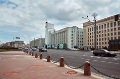 Białoruś Grodzcy domy na ulicach Minsk Maj 21, 2017 Zdjęcie Stock