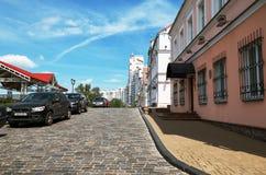 Białoruś Grodzcy domy na ulicach Minsk Maj 21, 2017 Obraz Stock