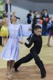 Białoruś, Luty, 22: Niezidentyfikowana taniec para Wykonuje Obraz Stock