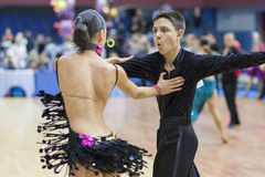 Białoruś, Luty, 22: Niezidentyfikowana taniec para Wykonuje Zdjęcia Stock