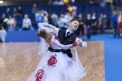 Białoruś, Luty, 23: Niezidentyfikowana taniec para Wykonuje Zdjęcia Stock
