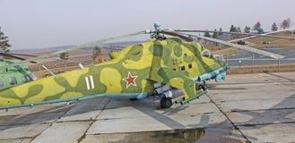 Białoruś minister Radziecki helikopter Mi-28 w muzealnej Stalin linii Zdjęcie Royalty Free