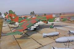 Białoruś minister Radziecki samolot SU-25 w muzealnej Stalin linii Obraz Stock