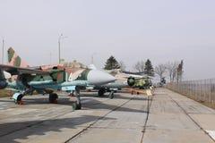 Białoruś minister Radziecki samolot SU-25 w muzealnej Stalin linii Obrazy Stock