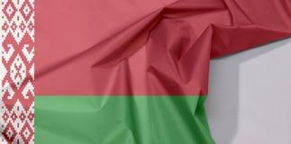 Białoruś tkaniny flaga zagniecenie z biel przestrzenią i krepa zdjęcia royalty free