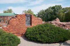 Białoruś wojna Brest pomnik wejściowy forteczny główny Ruiny stary ściana z cegieł Maj 23, 2017 Zdjęcia Stock