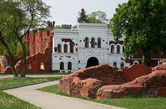 Białoruś wojna Brest pomnik wejściowy forteczny główny Ruiny stary ściana z cegieł Maj 23, 2017 Obraz Stock