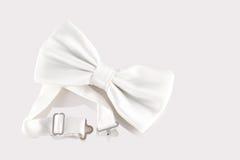Biały łęku krawata zakończenie up Obrazy Royalty Free