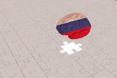 Biały łamigłówka samolot dla Rosja flagi mózg royalty ilustracja