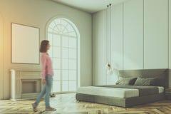 Biały łukowaty nadokienny sypialnia kąt, plakat tonujący ilustracja wektor