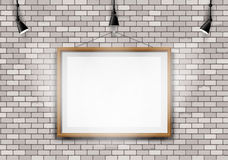 Biały ściana z cegieł obrazka projektor Fotografia Royalty Free