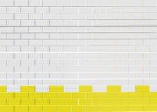 Biały ściana z cegieł wzoru tło Biały ściana z cegieł wzór z żółtym fortecą ilustracja wektor