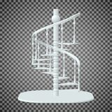 Biały ślimakowaty schody, 3d schodki na przejrzystym tle Zdjęcia Royalty Free