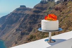 Biały ślubny tort Obraz Stock