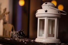 Biały świeczka lampion Zdjęcie Royalty Free