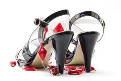 biały żeńscy tło buty Obrazy Stock