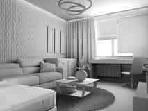 Biały żywy izbowy wnętrze Obrazy Royalty Free