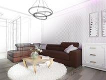 Biały żywy izbowy wnętrze Obraz Stock