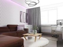 Biały żywy izbowy wnętrze Zdjęcia Stock