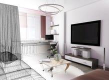 Biały żywy izbowy wnętrze Zdjęcia Royalty Free