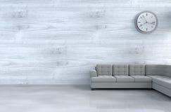 biały żywy izbowy wystrój z popielatą kanapą obraz stock
