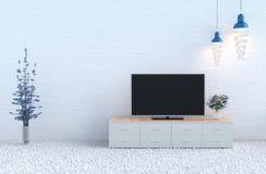 Biały żywy izbowy wystrój z telewizją ilustracji