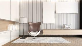 Biały żywy pokój/3D rendering Zdjęcia Royalty Free