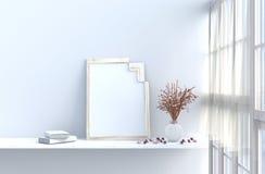 Biały żywy pokój dekorujący z menchii mockup i różą ilustracji