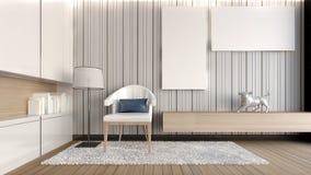 Biały żywy pokój z białym obrazek/3D renderingiem Zdjęcia Stock