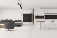 Biały żywy pokój z szarym karłem, kuchnia ilustracja wektor