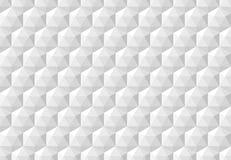 Biały abstrakcjonistyczny bezszwowy wzór z geometrycznymi heksagonalnymi sześcianami royalty ilustracja