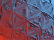 Biały abstrakcjonistyczny kształt iluminujący czerwonym i błękitnym światłem Niski poli- tło świadczenia 3 d Fotografia Stock