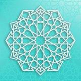 Biały Arabski ornament na błękitnym tle symetryczne wzoru Wschodnia Islamska struktura royalty ilustracja