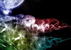 Biały, błękitny, czarny i tęcza kolorowy dymu wzór, Obraz Stock
