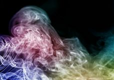 Biały, błękitny, czarny i tęcza kolorowy dymu wzór, Fotografia Stock