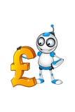 Biały & Błękitny robota charakter Fotografia Stock